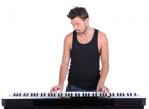Men playing digital piano