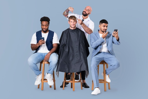 ヘアスタイリストの仕事とキャリアキャンペーンを行う男性用理髪店