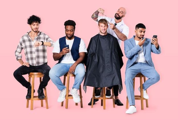Negozio di barbiere maschile con lavori di parrucchiere e campagna di carriera