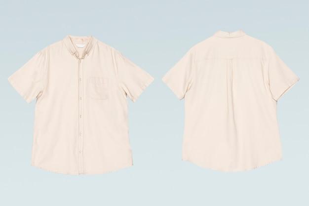 남성용 베이지 반팔 셔츠 캐주얼 의류