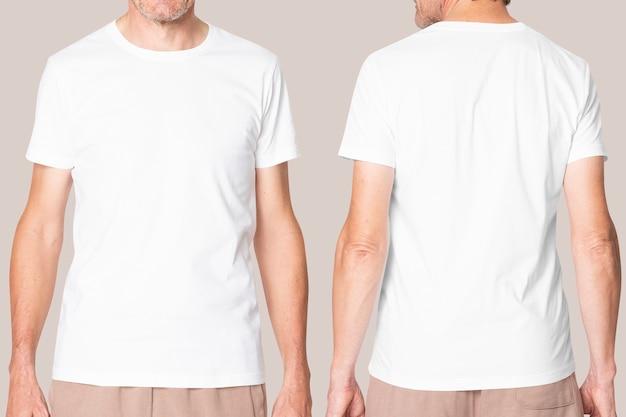 디자인 공간이있는 남성용 흰색 티셔츠 캐주얼 의류