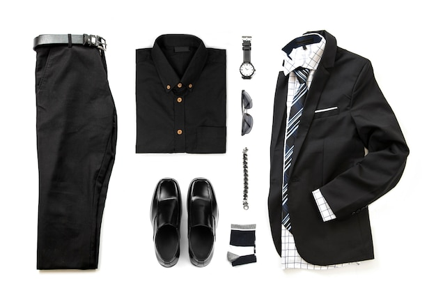 Men's black clothing set with loafer shoes , watch, sock, bracelet, office shirt, tie and suit , pants belt isolate on a white background, top view