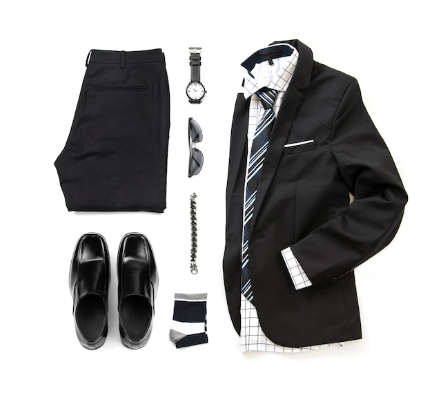 Men's black clothing set with loafer shoes , watch, sock, bracelet, trousers, office shirt, tie and suit isolate on a white background, top view
