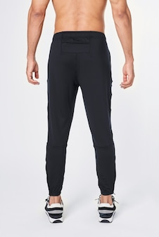 Pantaloni jogger neri da uomo vista posteriore