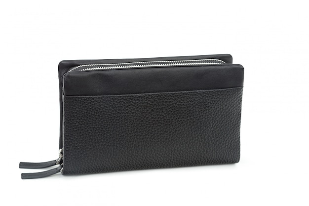 Men's black leather wallet isolated on white