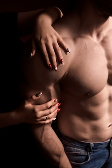 Men's breasts without hair. depilations chest inflated men hard athlete