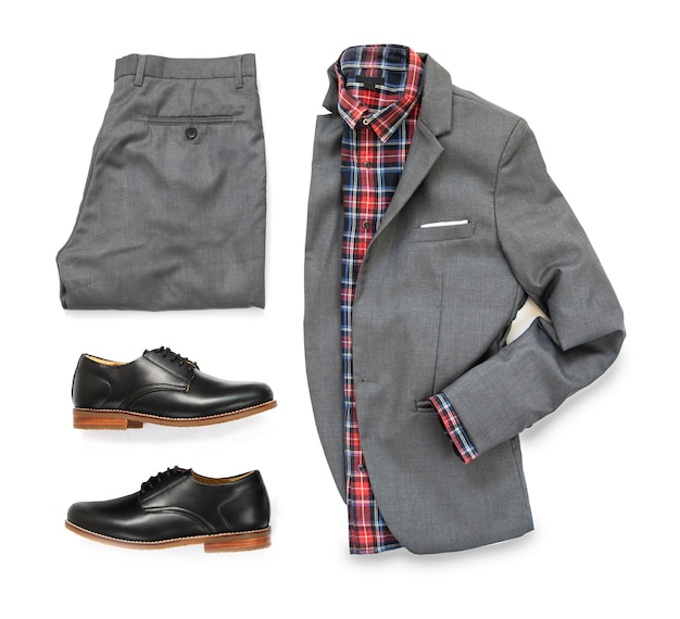 Men's casual outfits for man clothing with gray suit , watch, sunglasses, trousers, socks, shirt and oxford shoes isolated on white background, top view.