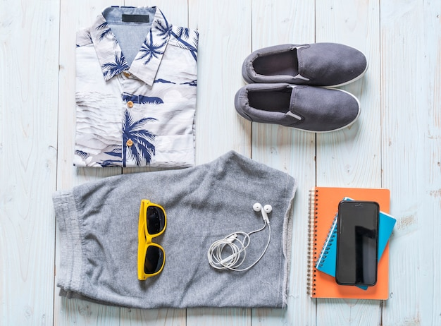 Men's casual outfits of traveler, summer holiday