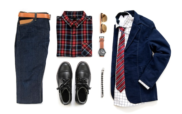 Men's casual outfits with black boot , watch,  jeans, belt, wallet, sunglasses, office shirt, blue jacket, bracelet and tie isolated on a white background, top view
