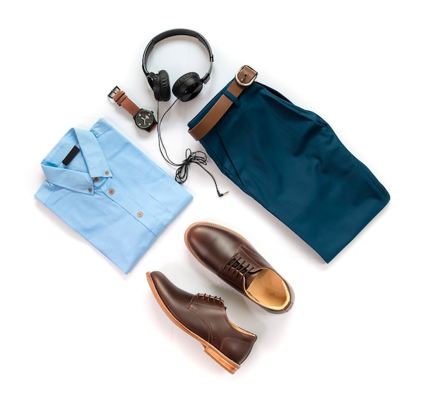 Men's clothing set and accessory, top view