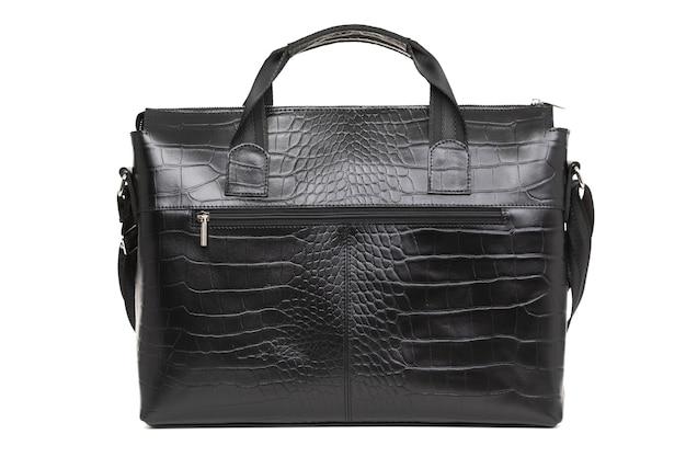 Мужская элегантная кожаная сумка, изолированная на белой поверхности