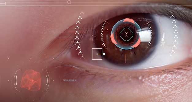Men's eyes are being scanned with intelligent eye scanners.