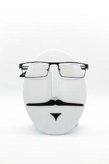 Men's fashion mannequin wearing fashionable spectacles on white background. glasses