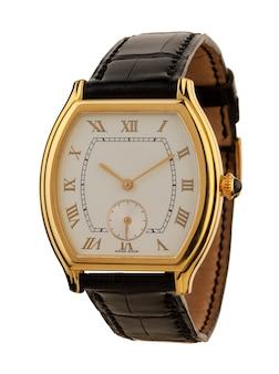 Мужские золотые часы, изолированные на белом фоне