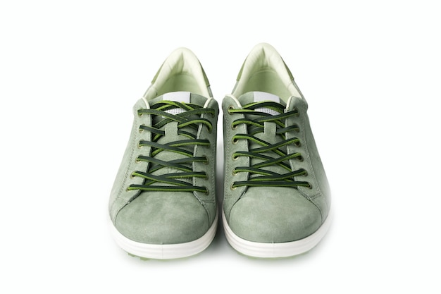 Men's green nubuck leather sneakers isolated on white background, leather lace