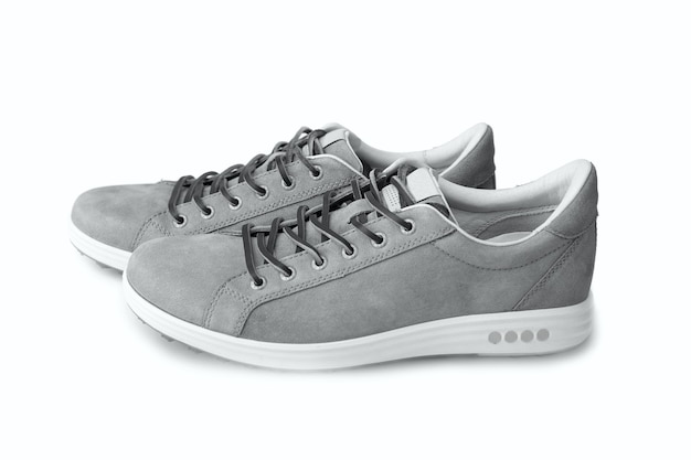 Men's grey nubuck leather sneakers isolated on white background, leather lace