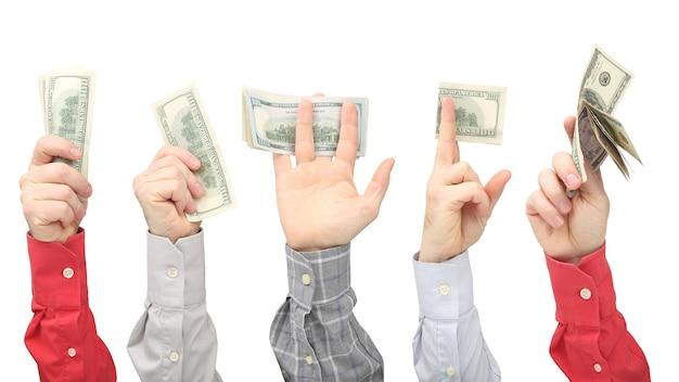 화이트에 돈을 달러 지폐를 들고 남자의 손