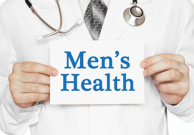 Men's health card in hands of medical doctor