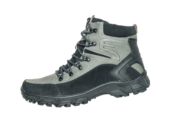 Men's hiking boot isolated on white. casual sports men's shoes.