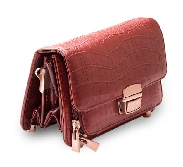 Мужской кожаный кошелек коричневый вырез на белом фоне