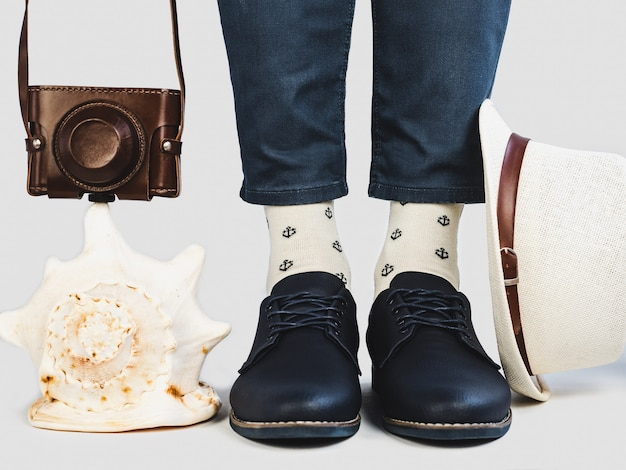 Men's legs, bright socks and stylish shoes