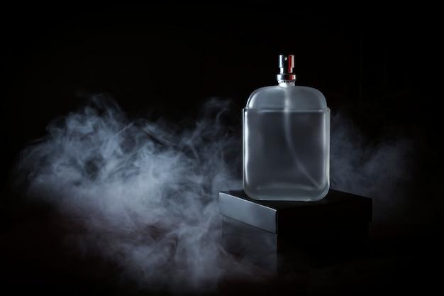 Men's perfume in smoke