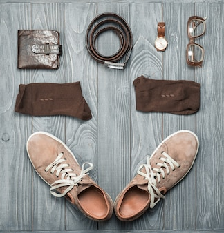Men's shoes and accessories. flat lay