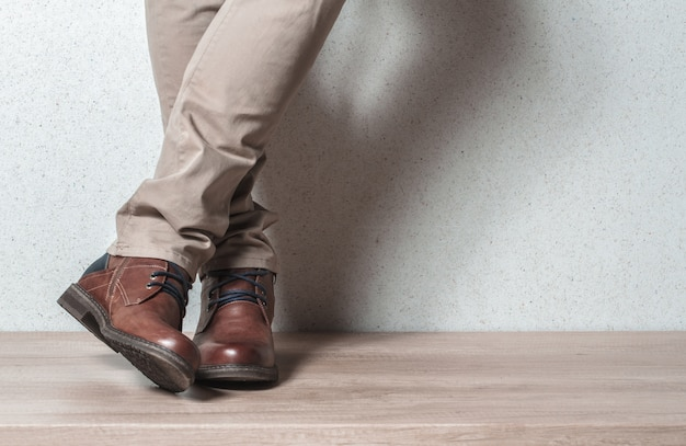 Men's shoes on a wooden floor
