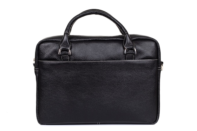 Мужская сумка из твердой кожи крупным планом