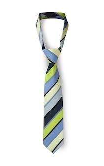 さまざまな色のメンズストライプネクタイ。白い背景で隔離。クリッピングパス付き。
