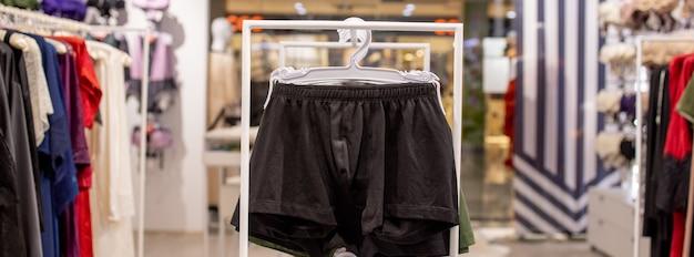 Men's underwear in the store. cotton men's briefs.