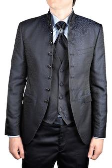 남자의 결혼식 정장 회색, 조끼, 높은 칼라, 꽃 패턴, 흰색 배경에 고립