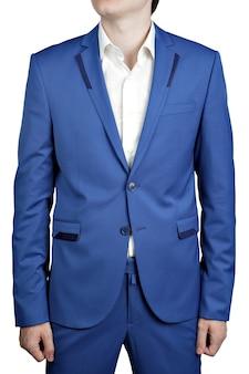 白で隔離の明るい青色のズボンとジャケットのメンズウェディングスーツ。