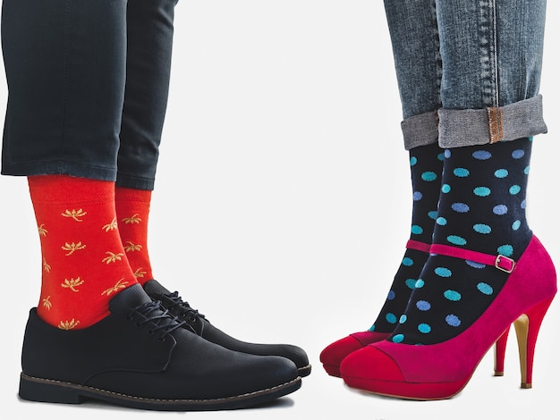 Men's and women's trendy shoes, bright socks