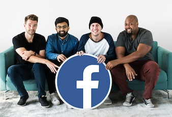 Men showing a Facebook icon