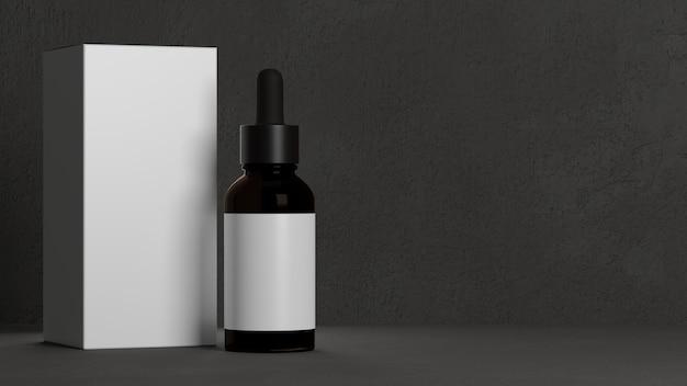男性のスキンケアは、男性用の灰色の背景の化粧品でスポイトボトル茶色のガラス瓶を宣伝します