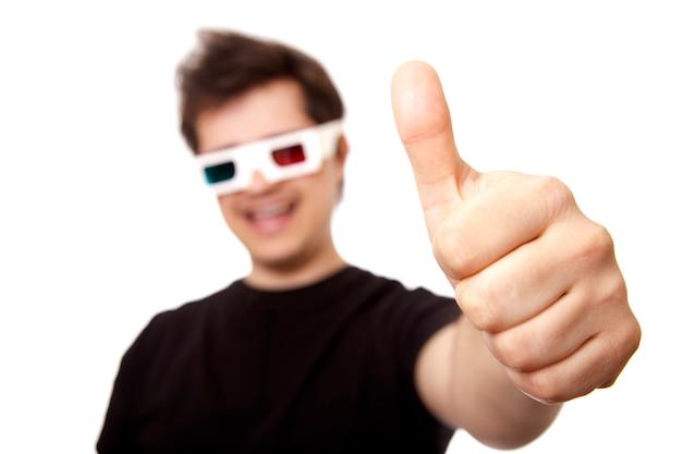 Men in stereo glasses show ok symbol.