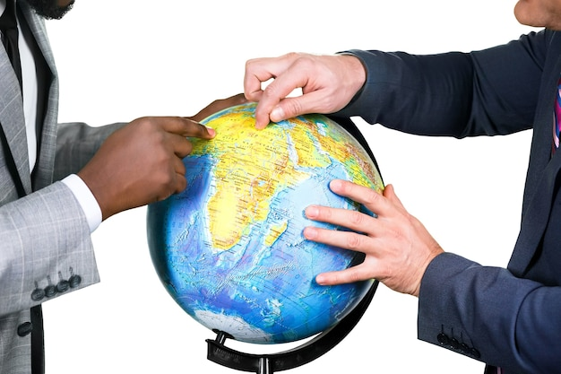 Men in suits and globe. how war is initiated. scientists argue. businessmen sharing the world.