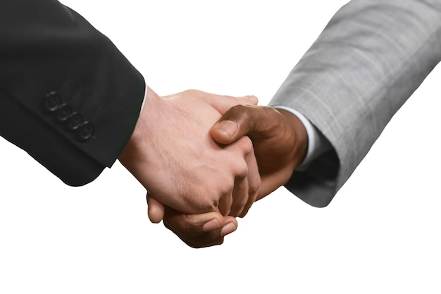 Men in suits shaking hands. a start of partnership. a sign of mutual respect. value the friendship.