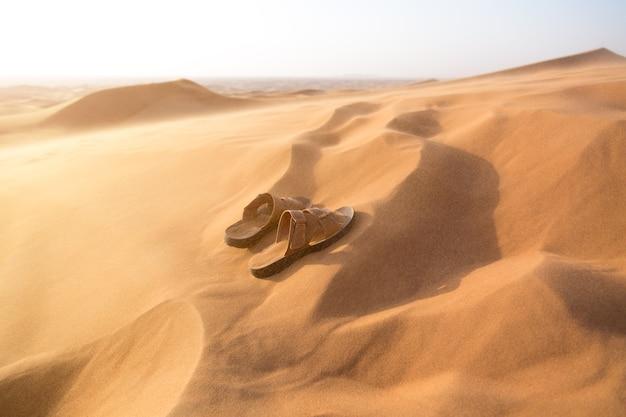 砂漠の砂に持ち込まれたメンズサマーシューズ