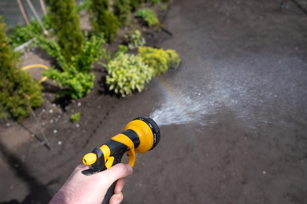 여름 별장의 뒤뜰에 있는 정원에서 땅에 물을 주는 남자. 무더운 여름날 채소밭에 물을 줍니다.