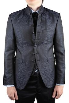 パターン、高い襟とベストの男性の結婚式の灰色のスーツ