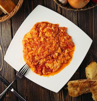 Menemen, turkish breakfast omlette with onion and tomatoes