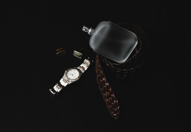 Mens accessories. watch with perfume and cuff