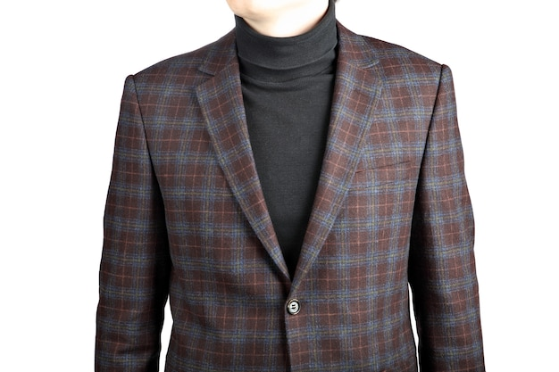 Mens brown woolen suit jacket checkered, isolated image on white background, plaid suit jacket