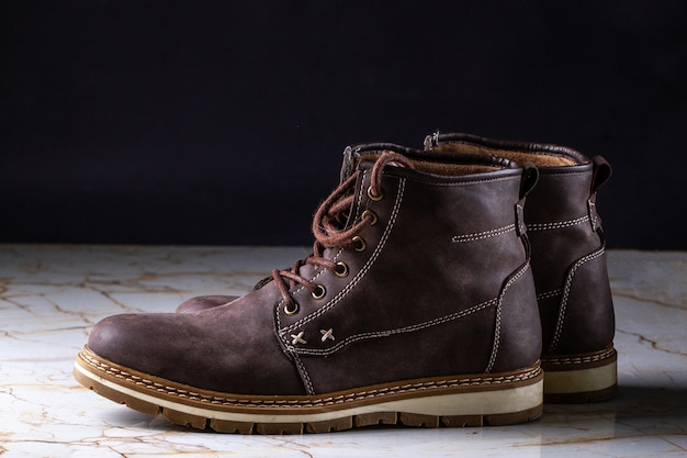 Mens casual brown suede boots. footwear and shoes for long walking and active lifestyle