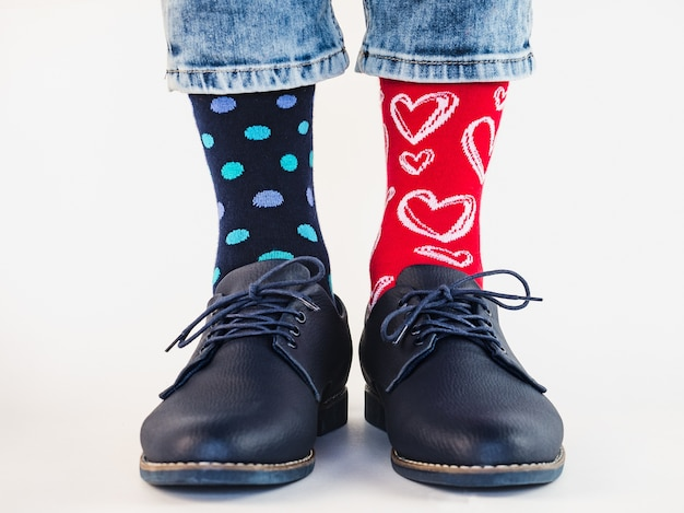Mens legs trendy shoes and bright socks