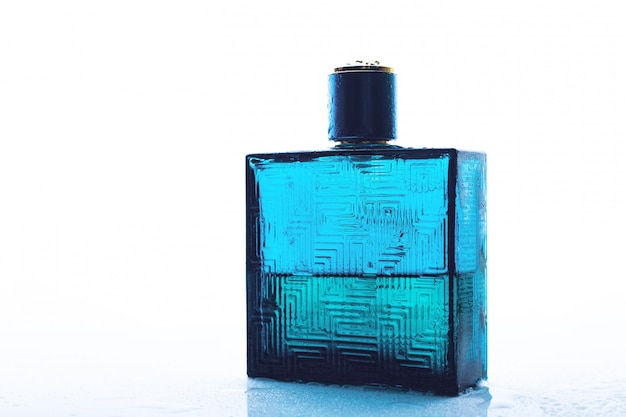 Mens perfume on white surface