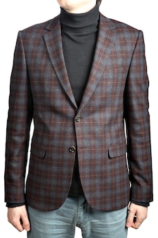 Mens  woolen suit blazer checkered,  in combination with jeans, isolated image on white background.