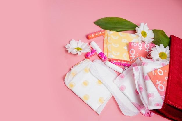 화장품 가방에 생리 탐폰과 패드. 월경주기. 위생 및 보호.